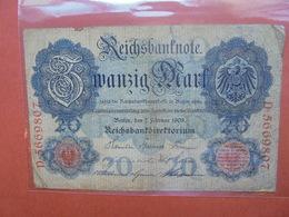 Reichsbanknote 20 MARK 1908 CIRCULER (B.1) - [ 2] 1871-1918 : Empire Allemand