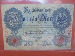 Reichsbanknote 20 MARK 1910 CIRCULER (B.1) - [ 2] 1871-1918 : Empire Allemand