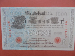 Reichsbanknote 1000 MARK 1910 PEU CIRCULER/BELLE QUALITE (B.1) - [ 2] 1871-1918 : German Empire