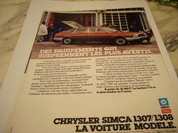 ANCIENNE  PUBLICITE VOITURE MODELE CHRYSLER DE SIMCA 1977 - Voitures