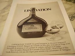 ANCIENNE PUBLICITE ARMAGNAC MARQUIS DE CAUSSADE 1977 - Alcohols