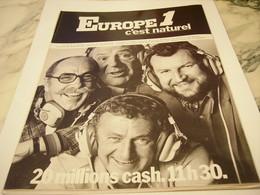 ANCIENNE PUBLICITE RADIO EUROPE 1 C EST NATUREL 1977 - Advertising