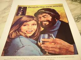 ANCIENNE  PUBLICITE MON AMOUR LIQUEUR LA BENEDICTINE  1977 - Alcohols