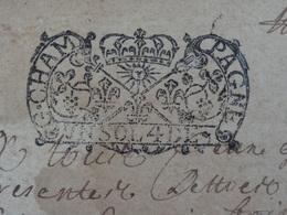 1717 Généralité De CHAMPAGNE Papier Timbré N°154 De Un Sol Et 4 DE. X2 Nogent (Haute-Marne) Soleil Couronne Lys - Seals Of Generality