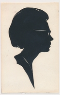 Silhouette Woman Femme Original Vintage Hand Made Silouette Siluette  Old Card - Silhouettes