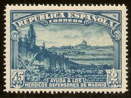 España Edifil 757** Mnh  45 Ctos + 2 Pesetas Azul  Defensa Madrid  1938  NL1411 - 1931-Today: 2nd Rep - ... Juan Carlos I