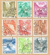 PERFORE EN CROIX SERIE OBLITERE 1937 C/.S.B.K. Nr:19z/27z. Y&TELLIER Nr:132a/140a. MICHEL Nr:19z/27z.PAPIER GRILLE . - Officials