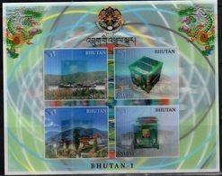 BHUTAN, 2018, MNH, SATELLITES, MOUNTAINS, TEMPLES, 3D SHEETLET - Other