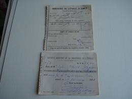 Lot De 2 Doc.  SA Brasserie De L' Etoile à Jumet  1890 Bon De Livraison , 1891 Reçu - Belgique