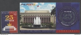 PHILIPPINES,  2017, MNH, PHILPOST, 25TH ANNIVERSARY, FOUNTAINS, FLAGS,1v+S/SHEET - Post