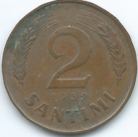 Latvia - 1st Republic - 2 Santimi - 1939 (KM11) - Lettonie