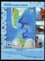 ARGENTINA, 2018, MNH, CONTINENTAL SHELF, SHIPS,  MAPS, CRUSTACEANS, S/SHEET - Polar Philately