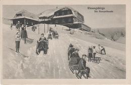 AK Riesengebirge Hampelbaude Schronisko Akademicka Baude Gasthof Rodelbahn Hörnerschlitten Ski Skifahrer Winter Zima - Schlesien