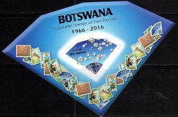 BOTSWANA, 2016, MNH, STAMP ON STAMP, FAVOURITE STAMPS OF FIVE DECADES, BIRDS, DIAMONDS,S/SHEET - Stamps On Stamps