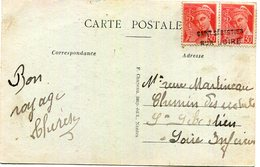 """CP De Bourgneuf (44) Pour Nantes Affranchissement  Mercure Oblit Par Griffe """"Saint Sebastien/sur Loire"""" - Postmark Collection (Covers)"""