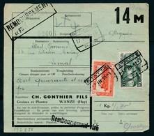 "Vrachtbrief Met Stempel  ""STATTE Nr 2"" + ""OTTIGNIES - P.W."" + Griffe ""REMBOURSEMENTS"" - (ref. Nr 469) - Railway"