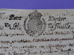 1686 Généralité De CHAMPAGNE Petit Papier Timbré N°66 De Un Sol La Feuille Chatillon Sur Seine Et Montigny - Seals Of Generality