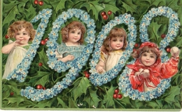 29 Année, Date, Millesime 1908 - Enfants Dans Les Chiffres Houx Gaufrée - New Year
