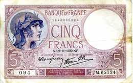 FRANCE - Banque De France, XXème Siècle -  5 Francs VIOLET Modifié - NF.02-11-1939 - 094 - M.65734 - Circulé (voir Scan) - 1871-1952 Antiguos Francos Circulantes En El XX Siglo