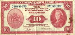 NETHERLANDS EAST INDIES 10 GULDEN RED WOMAN FRONT AIRPLANE SHIPDATED2.MARCH 1943 P114a 2ND VARIETY F+ READ DESCRIPTION!! - Dutch East Indies