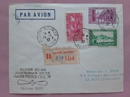 EX COLONIE FRANCESI - ALGERIA 1937 - Raccomandata 1° Volo Air France/KLM Algeri-Amsterdam - Annulli Retro + S. Postali - Algérie (1924-1962)