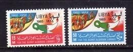 LIBYA LIBIA UNITED KINGDOM REGNO UNITO 1965 INCENDIO BIBLIOTECA ALGERI FIRE LIBRARY SERIE COMPLETA COMPLETE SET MNH - Libia