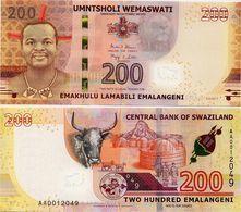 SWAZILAND       200 Emalangeni       P-New       6.9.2017 (2018)       UNC - Swaziland