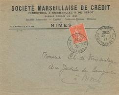 """Semeuse N°199 Perforée """" SM"""" Agence De Nîmes GARD De La Société Marseillaise De Crédit Sur Lettre (1927) - Perfins"""