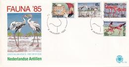 Dutch Antilles 1985, FDC Complete Set Flamingoes, Birds - Flamingo