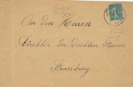 "Semeuse N°130 Obl Cachet Allemand "" PFASTATT ( OBERELS) 30/1/19sur Lettre Pour Strasbourg - Alsazia Lorena"