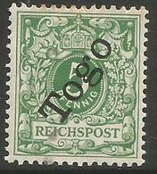 German Togo - 1897 Numeral 5pf  MH *   Sc 2 - Colony: Togo