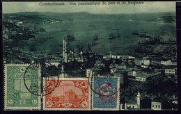 """Turquie - 1919 - Bel Affranchissement Tricolore Sur CPA """"Vue Panoramique Du Port Et Du Bosphore"""" B/TB - - Covers & Documents"""