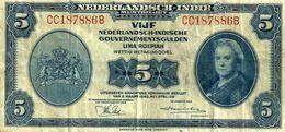NETHERLANDS EAST INDIES 5 GULDEN BLUE QUEEN PORTRAIT FRONT&AIRPLANE BACK W/OLETTER 02-031943 P113aVF READ DESCRIPTION !! - Indie Olandesi