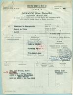 1945 Courrier Armée Américaine  (demande De Logement Pour Officier Chez Habitant) - 1939-45