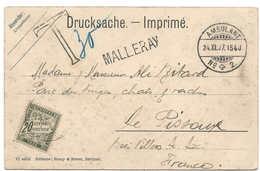 1907, AMBULANT + Cachet Linéaire MALLERAY, Berne, Carte Postale Taxée, Illustrée Bévilard, Railway, Bahnpost Pour France - Chemins De Fer