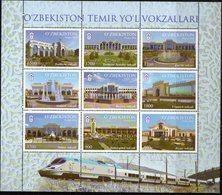 UZBEKISTAN, 2018, MNH, RAILWAYS, TRAINS, UZBEKISTAN RAILWAY STATIONS, SHEETLET - Trains