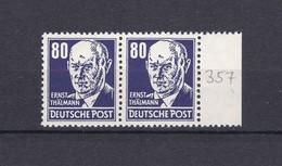 DDR - 1952/53 - Michel Nr. 339 - Paar Mit Rand - Postfrisch - 25,6 Euro - Ungebraucht