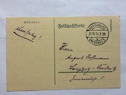 GERMANY 1915 Feldpost Card -Marienburg To Leipzig - XVII No. 1 Garrison Batallion - Germany