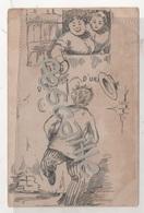 CP HUMORISTIQUE HOMME URINANT CONTRE UN MUR ET FEMME LUI VERSANT DE L'EAU CHAUDE DESSUS... - CIRCULEE EN 1904 - Humor
