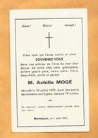 GENEALOGIE FAIRE PART DECES  MOGE 1900 1975 MERLEBACH - Décès
