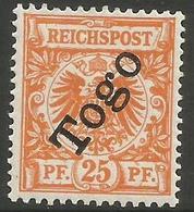 German Togo - 1899 German Eagle 25pf Fine  MH *   Sc 5 - Colony: Togo