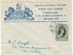 Malte Malta Enveloppe Premier Jour Couronnement 1953 FDC - Malta