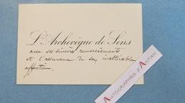 CDV Monseigneur ARDIN Archevêque De SENS - Né à Clairvaux Les Lacs (Jura) - Carte De Visite Autographe Archbishop - Autographes