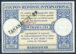 MADAGASCAR London Type XV 40 / 30 / 15 FRANCS CFA International Reply Coupon Reponse IAS IRC Antwortschein O TANANARIVE - Covers & Documents