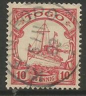 German Togo - 1901 Kaiser's Yacht 10pf Used   Sc 9 - Colony: Togo