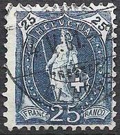 Schweiz Suisse 1899: 13 Vertikalzähne KZ II Zu 73D Mi 67C  - 25c Blau Mit Voll-o SCHWANDEN 4.V.01 (GLARUS) (Zu CHF 3.00) - Gebraucht
