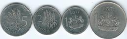 Lesotho - Loti - 1979 (KM22) & 1998 (KM66) 2 Maloti - 1988 (KM58) & 5 Maloti - 1998 (KM59) - Lesotho