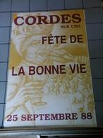 Affiche Septembre 1988 - Cordes Sur Ciel  Fête La Bonne Vie . - Posters