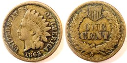 USA - One Cent (Indian Head) 1863 (Copper Nickel). - 1859-1909: Indian Head