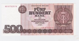 Billet  DDR De 500 Mark  De 1985  Pick 33 Neuf - [ 7] 1949-… : FRG - Fed. Rep. Of Germany
